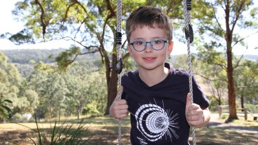 Eight-year-old Finn, from northern NSW, enjoys tending his veggie patch - and designing rockets.