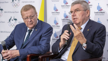 John Coates and IOC president Thomas Bach in Brisbane earlier this year, where Coates lobbied for the summer Olympics in 2032.