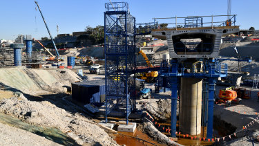 Construction work at the St Peters interchange last month.