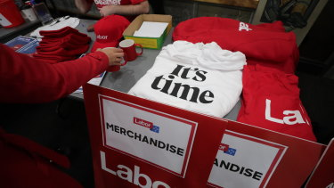 """Labor was selling """"It's time"""" T-shirts at Bill Shorten's speech."""