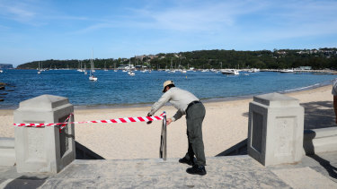 Balmoral beach in Sydney is closed as authorities try to enforce social distancing to stop the spread of the coronavirus.