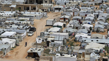 A Syrian refugee camp in the eastern Lebanese border town of Arsal in June.