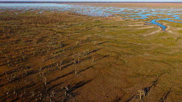 Lake Pamamaroo, in the Menindee Lakes system in Far Western NSW. The dried-out water bodies will receive their first inflows since January 2017.