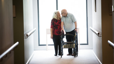 Sam Wilson and Gloria Graydon, who met and fell in love at the aged care facility. Picture: Jason South.