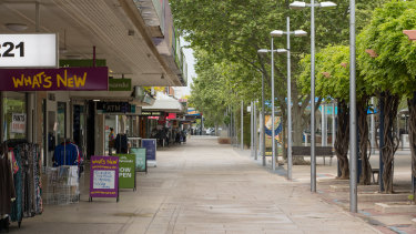 An empty Maude Mall in the centre of Shepparton on Thursday.