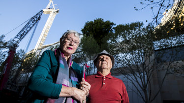 The convenor of Pyrmont Action, Elizabeth Elenius, pictured with Guy Di Benedetto, said the community group strongly opposed the proposed tower because of its excessive height.