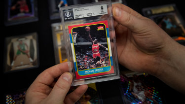 A Michael Jordan rookie card on sale at Melbourne's Cherry card store for $15,000.