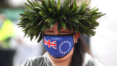 A volunteer at a drive-through vaccination drive for Cook Islanders in Auckland, New Zealand, on Thursday.