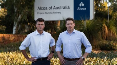 Energy Minister Angus Taylor and Canning MP Andrew Hastie at Alcoa's Alumina refinery south of Perth.