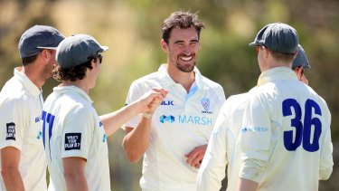 Mitchell Starc and the Blues celebrate a a wicket against Tasmania.