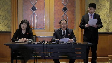 North Korean Foreign Minister Ri Yong-ho, centre, holds a midnight press conference after talks collapsed in Hanoi.