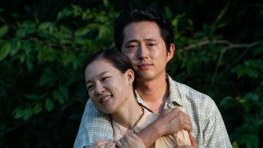 Yeri Han and Steven Yeun in Minari.
