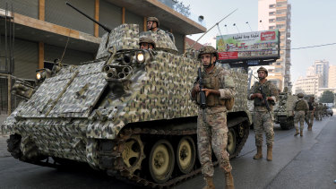Lebanese army soldiers deploy after deadly clashes in Beirut.