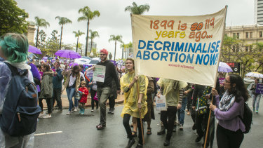 Pro-choice marchers in Brisbane on the weekend before the vote.