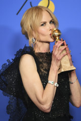 Nicole Kidman at the 2018 Golden Globes after winning best actress for Big Little Lies.