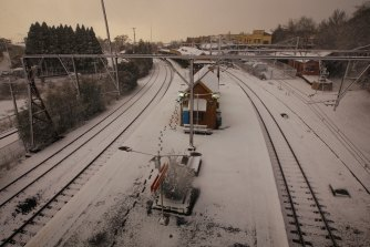 The snow brought trains to a halt in Katoomba.