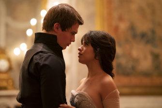 Prince Robert (Nicholas Galitzine) spots Cinderella (Camilla Cabello) at the village market and instantly falls in love.