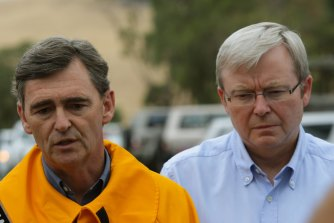 John Brumby (left) with then prime minister Kevin Rudd in February 2009, just two days before Black Saturday.
