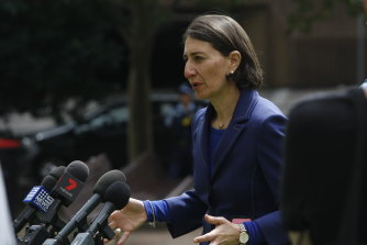 Premier Gladys Berejiklian at a press conference on Saturday.
