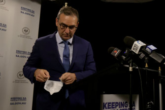 South Australia's Premier Steven Marshall announcing the six-day lockdown on Wednesday.