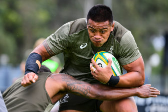 Allan Alaalatoa at Wallabies training on Tuesday.
