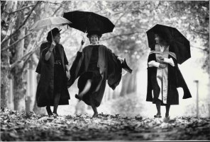 The Burgmann girls were the first three sisters in Australian history to be conferred with Doctorates of Philosophy. Meredith Burgmann, left, and Verity Burgmann, right, joined Beverly Firth-Burgman, who was awarded her PhD at a ceremony in Macquarie University in May 1987. Meredith and Verity were awarded doctorates from Macquarie some years earlier.