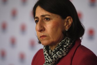 Premier Gladys Berejiklian gives a COVID-19 update on Sunday.