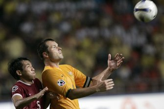 Retired Australian football great Mark Viduka, right, in action at the 2007 Asian Cup.