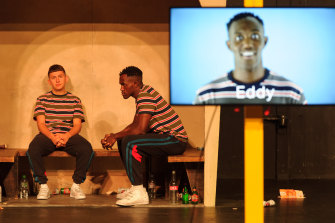 James Russell-Morley (left) and Oseloka Obi tag-team the storytelling of Eddy as a boy and adult.