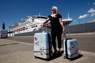 Honida Beram ready to board P&O's Pacific Explorer at Sydney's White Bay terminal.