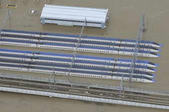 Bullet trains submerged at their base in Akanuma, Nagano Prefecture, central Japan.