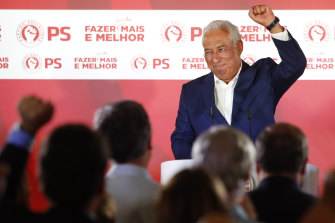 Portuguese Prime Minister and Socialist Party leader Antonio Costa celebrates the election result.