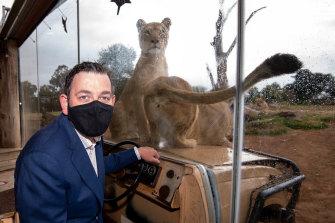 "Premier Daniel Andrews at Werribee Zoo on Wednesday, announcing funding to make it ""Australia's leading open-range zoo""."