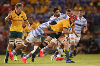 Harry Wilson in action for the Wallabies against Argentina in Newcastle.