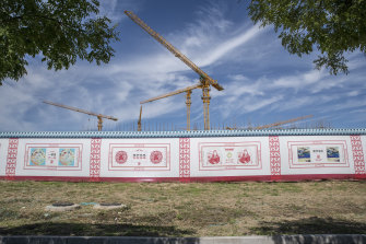 Outside the China Evergrande Group Royal Mansion residential development under construction in Beijing.