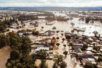 An aerial view of flooding in the township of Traralgon in Gippsland.