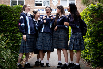 Strathfield Girls' students Annabel Knight, Gina Lee, Jenny Yang, Devika Coleman and Sela Deng were glad to finish the first English exam.