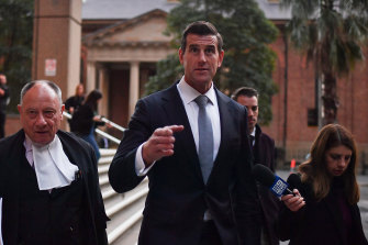 Ben Roberts-Smith at the end of the day with his barrister Bruce McClintock, SC.