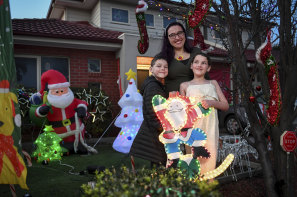 """""""We've gone a little bit nuts"""": Kat Torcasio, of Pascoe Vale, with children Theodore, 7, and Charlotte, 9."""