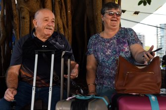 Trevor Spencer, 75 with his wife Julie after disembarking from the Ruby Princess on Thursday.