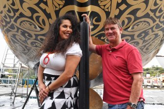 Floating art: ferry owner Sean Langman with Grace Dlabik, founder of BE Collective.