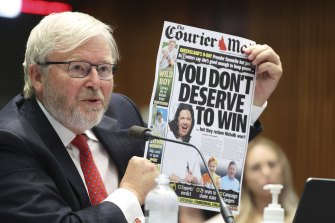 Kevin Rudd at a Senate hearing on media diversity in Australia earlier this year. He will use a second appearance to call for the media watchdog to be abolished after Sky News broadcast views denying the existence of the COVID-19 pandemic.