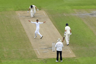 Mohammad Abbas successfully appears for the wicket of England's Dom Sibley at Old Trafford.