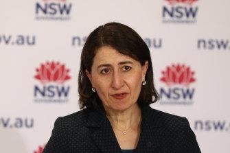 NSW Premier Gladys Berejiklian at Friday's COVID-19 briefing.