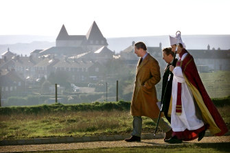 The Prince of Wales attends a consecration ceremony at Poundbury cemetery in 2004.