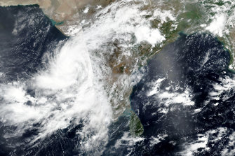 This Tuesday, June 2, 2020, satellite image released by NASA shows cyclone Nisarga roaring toward the western coast of India.