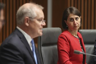 Prime Minister Scott Morrison and NSW Premier Gladys Berejiklian during a national cabinet press conference in December.