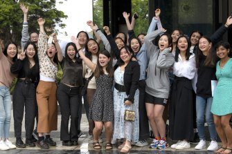 Presbyterian Ladies College International Baccalaureate students celebrate their results.