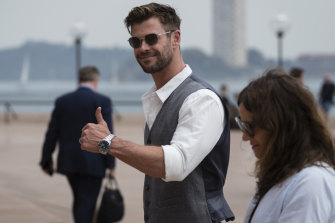 Surprise guest: Chris Hemsworth showed up at the Sydney Opera House on Wednesday for the Tourism Australia event.