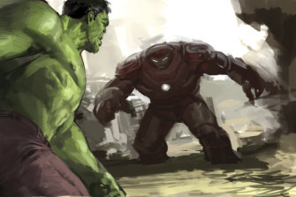 Not Boris Johnson: The Hulk goes up against Iron-Man.